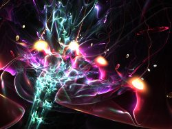 Colorful abstract fractal fireworks